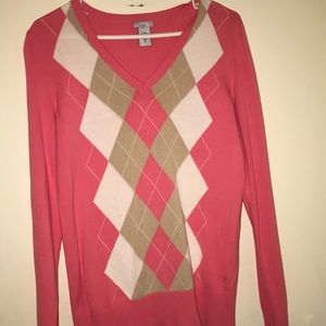 Izod golf woman's argyle pink cozy  sweater Sz M